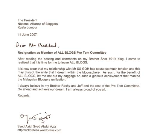 Resignation As Member Of ALL BLOGS Pro Tem Committee
