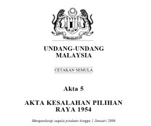 Akta Kesalahan Pilihanraya 1954