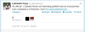 Tweet Latheefa Koya mengenai Kes Petisyen Machang.