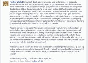 Komen Mrs NorWahid dalam Wall Facebook Prof Agus Yusof Mnegenai Lebuhraya Rakyat