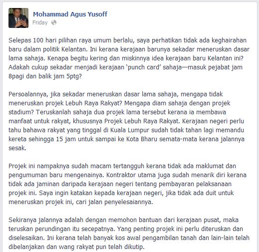 Teguran Prof. Agus terhadap Kerajaan Negeri Kelantan