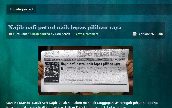 Keratan Akhbar Pada 26 Febuari 2008